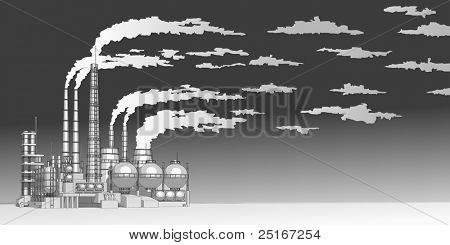 Industry concept: abstract plant with smokey sky. Bitmap copy my vector id 16240876