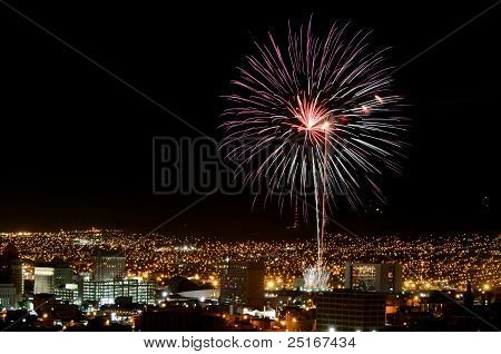Fireworks Over the City at Night