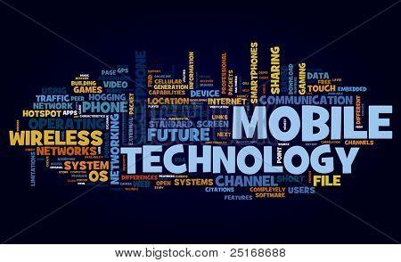 Concepto de la tecnología móvil en la nube de etiquetas en negro