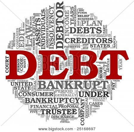 Debt concept in word tag cloud on white background