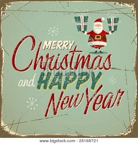 Vintage christmas sign. Vector EPS10.