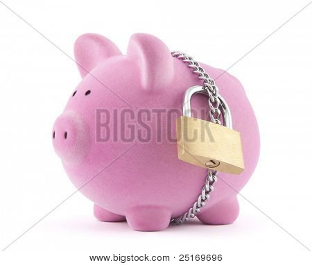 Piggy bank secured with padlock and chain. Clipping path included.