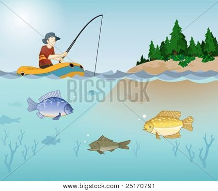 Fishing time in a lake