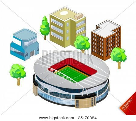 Isometric Stadium vector. Isometric Series. Compose Your Own World Easily with Isometric Works.