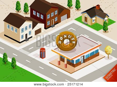 Donuts Shop Isometric. Isometric Series. Compose Your Own World Easily with Isometric Works.