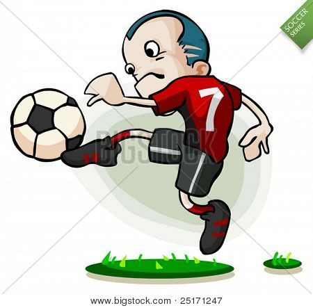 Soccer Player is Kicking Ball Vector