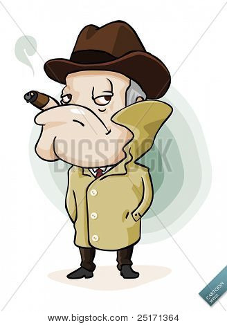 Mafia Boss in his long coat. Detailed vector illustration isolated in white.