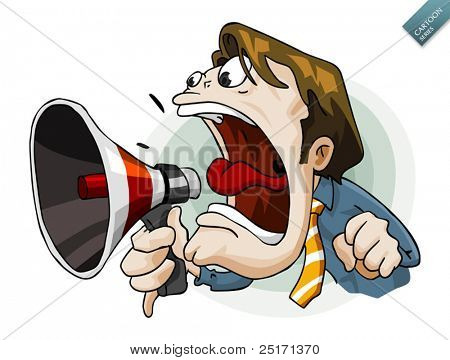 Man with megaphone. Detailed vector illustration in isolated in white.