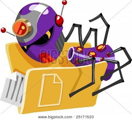 Threat of Virus Computer. Detailed vector Illustration.