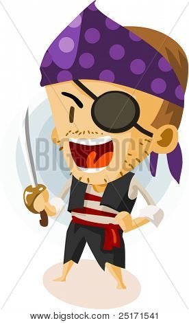 Kid Play Pirate. Colorful Detailed vector Illustration.