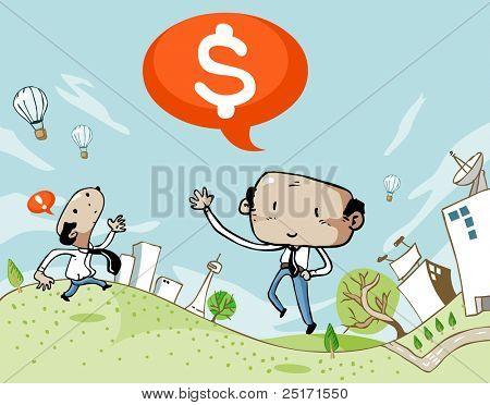 Empresario celebrando el éxito sobre ganancias. Superior e inferior son extensibles para texto.