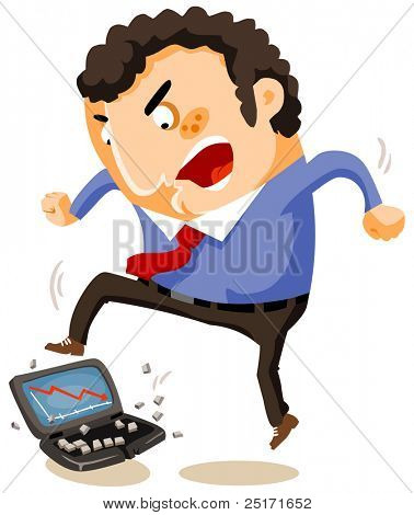 Brechen den Laptop durch enormen Stress, Vector Illustration