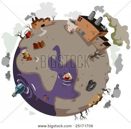 Mundo enfermo necesita ayuda. Ilustración de Vector