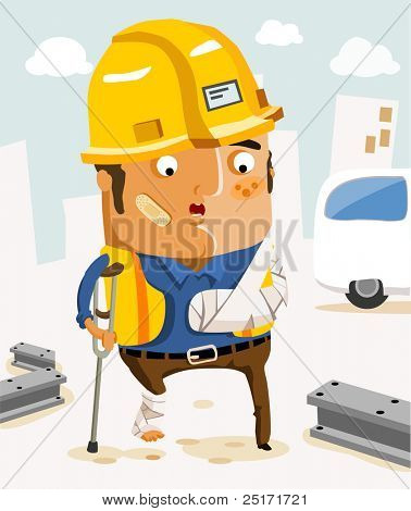 Insurance Labor for accident in work. Vector Illustration