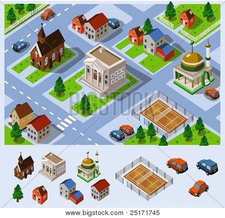 City Hall. Set of very detailed isometric vector