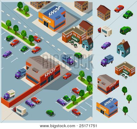Shopping and Grocery. Set of very detailed isometric vector