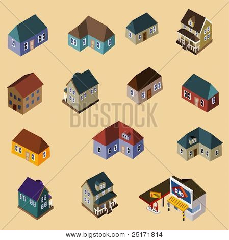 Set of Isometric Buildings and Houses. Compose your own city