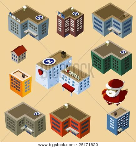 Set of Isometric Buildings. Compose your own city