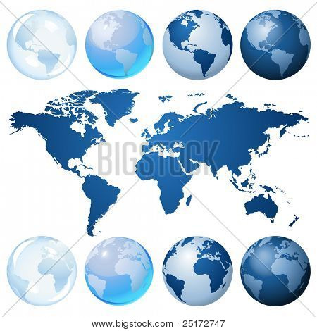 Blue globe kit and map, vector background.