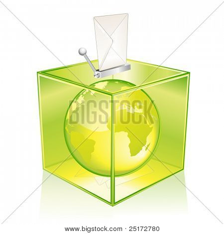 Transparent green ballot box, vote for the Earth