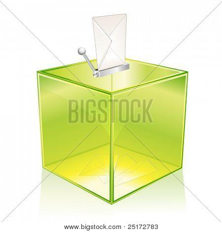 Urna verde transparente, su voto