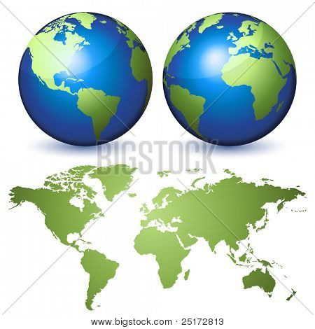 Two globes representing the Earth and a planisphere