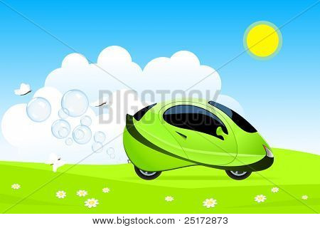 Vector illustration of hydrogen car concept