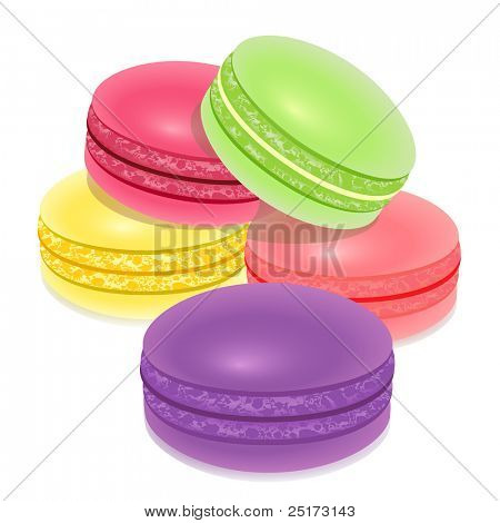 Macarons, french sweet confectionery over white