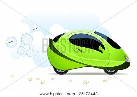 Illustration of hydrogen car concept on white