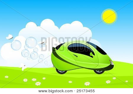 Illustration of hydrogen car concept
