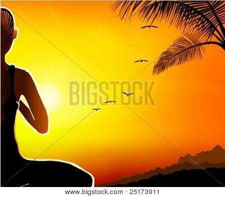 Een illustratie van de vrouw die mediteren op de heuveltop