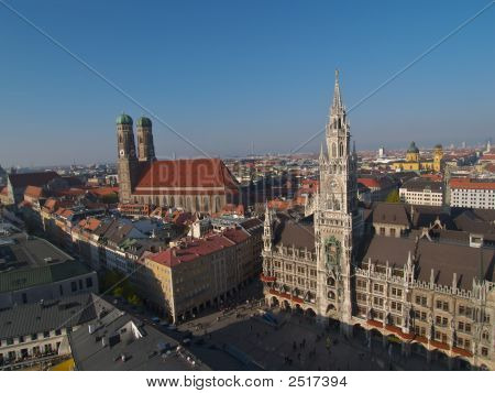 Cathedral And Munich Aerial View