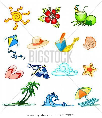 collection of summer design elements (colored)
