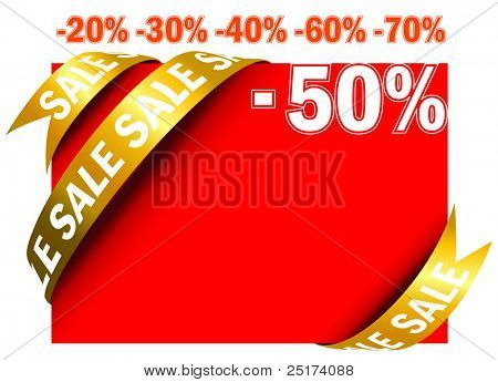Red sale sign tag in vector