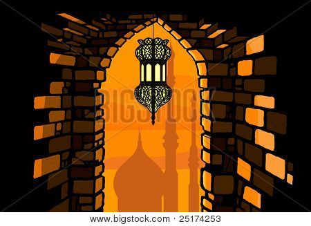 Ramadan lantern with arabian architecture background