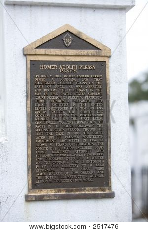 Homer Plessy Tomb Plaque