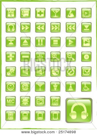 big set of green vector glass button icons part 2