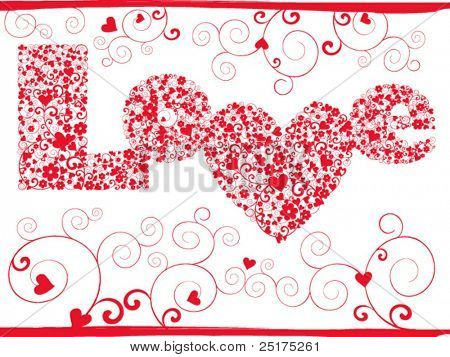 vector elegance valentine card with 'love' pattern