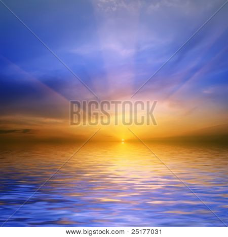 sea-piece on a background sunset