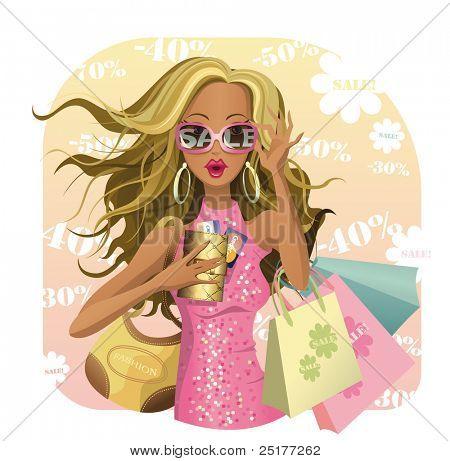 Entwerfen der Schönheit zu verkaufen! Glamour-Vektor-girl