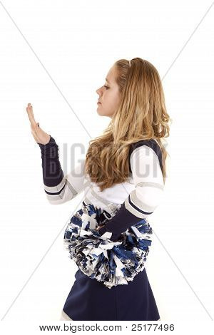 Cheerleader Looking At Nails