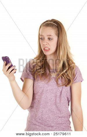 Girl Purple Phone Frustrated