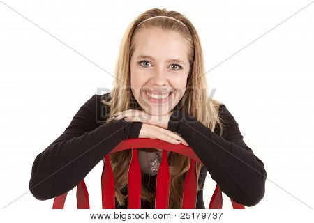 Girl Red Chair Smile Backwards