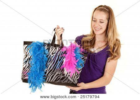 Girl Shopping Bag Look Down