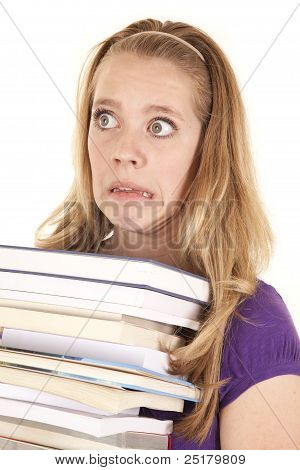 Girl Stack Of Books Funny Face
