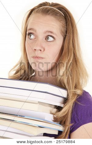 Girl Stack Of Books Looking Off
