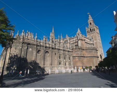 Wide Shot Of Cathedral Seville