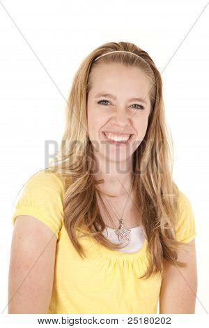 Girl Yellow Shirt Smile
