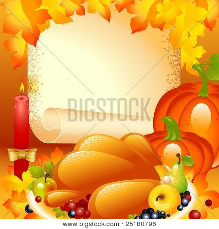 Thanksgiving card. background with turkey