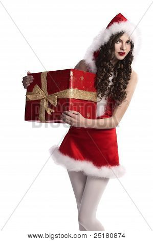 Santa Claus Girl With Gift Box